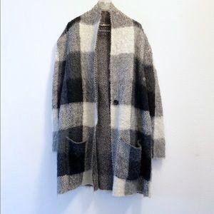 American Eagle Plaid Wool Oversized Blazer
